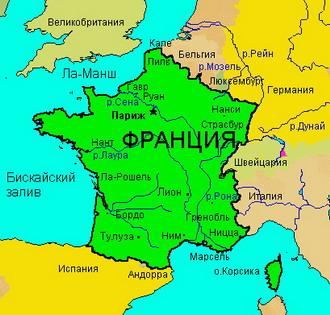 Географическая карта франции