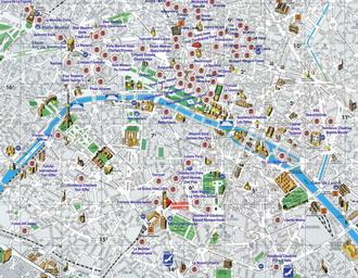 Карта парижа с нанесенными отелями