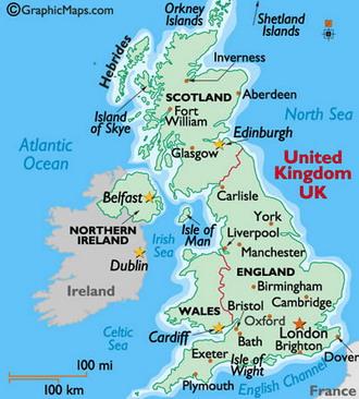 Карта городов Великобритании