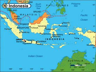 Физическая карта индонезии
