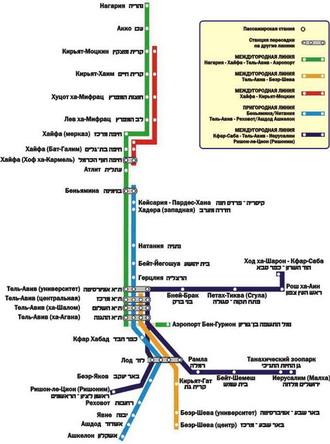 Карта железных дорог Израиля