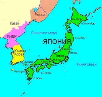 Географическая карта японии