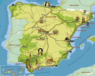 Карта достопримечательностей испании