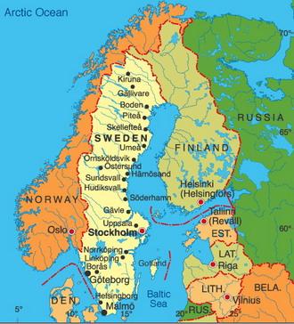 Географическая карта швеции