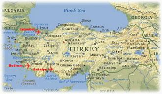 Физическая карта турции